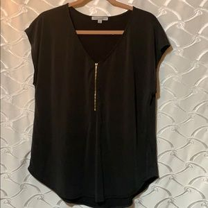 Black shirt sleeve top with Gold zipper,Size Large